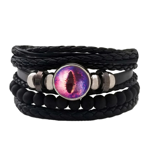 Dragon Eye Leather Bracelet Set - Purple