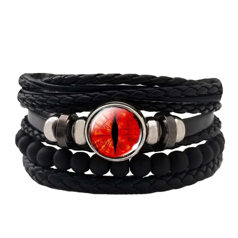 Dragon Eye Leather Bracelet Set - Red