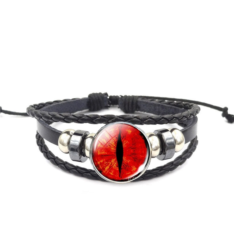 Dragon Eye Leather Bracelet - Red