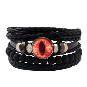 Dragon Eye Leather Bracelet Set - Orange