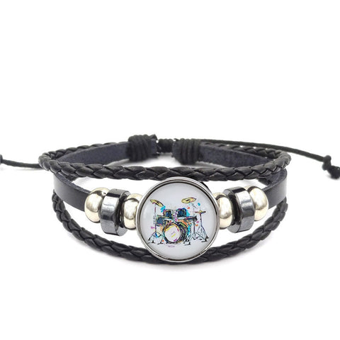 Abstract Drums Leather Bracelet