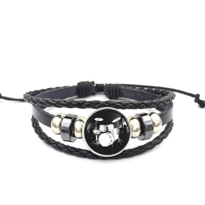 Drum Set Leather Bracelet