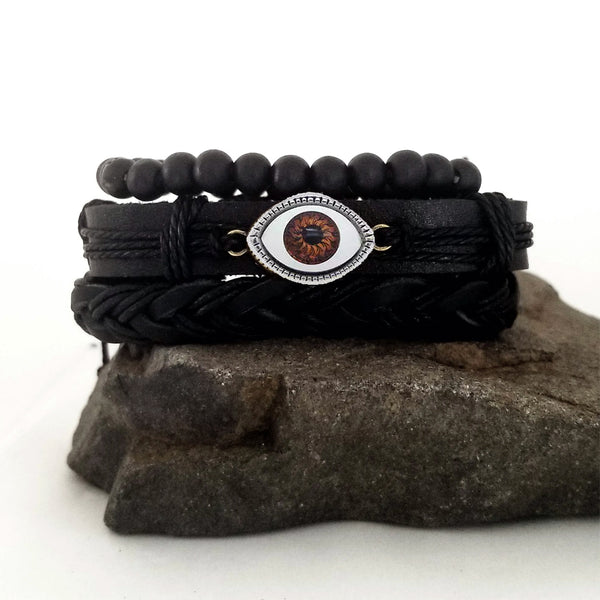 Evil Eye Bracelet Set - Red/Silver