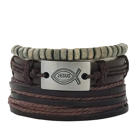 Jesus 2 Leather Bracelet Set - Silverado Outpost