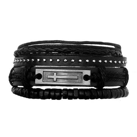 Faith Black Leather Bracelet Set