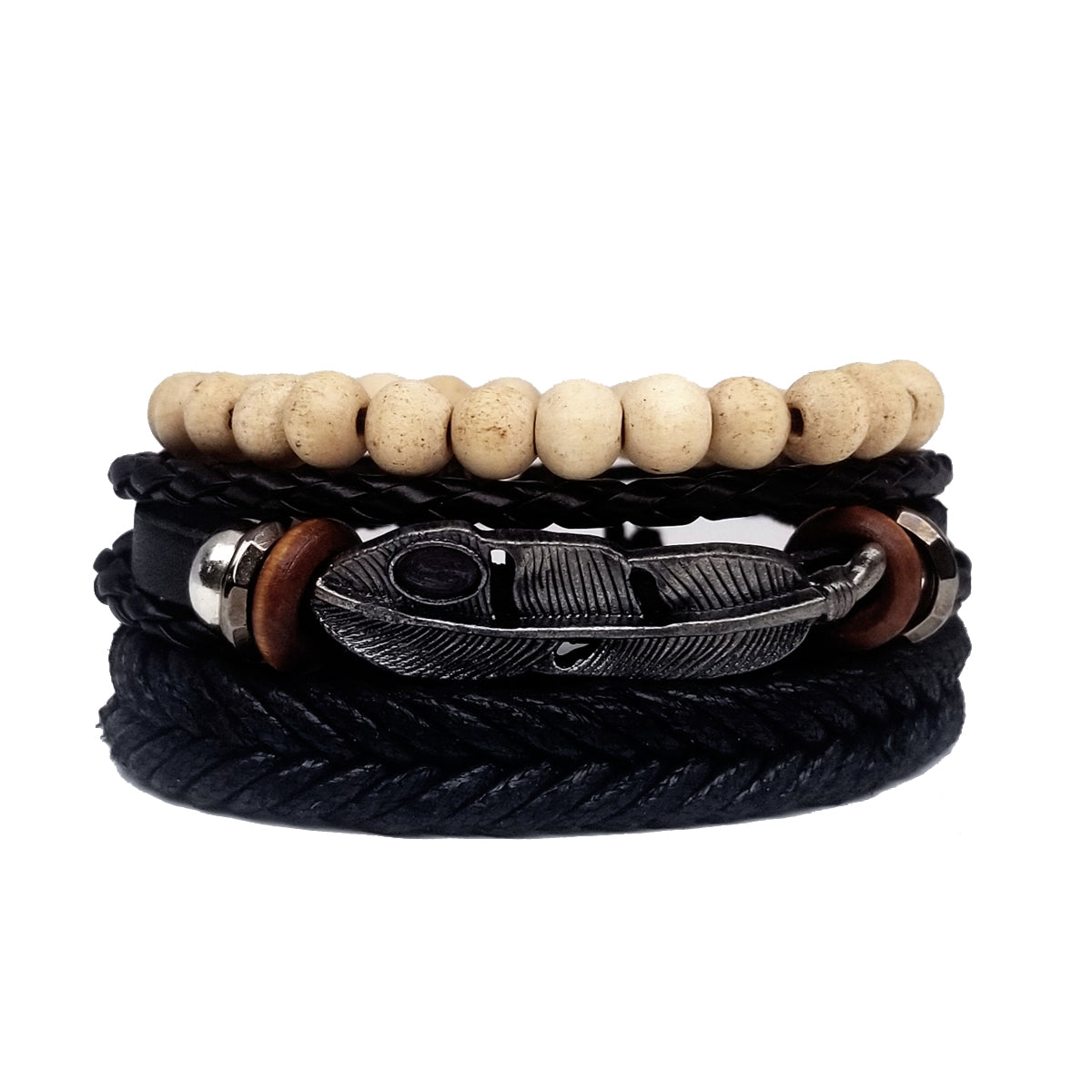 Pinnacle Feather Leather Bracelet Set