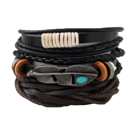 Honor Multilayer Feather Bracelet Set