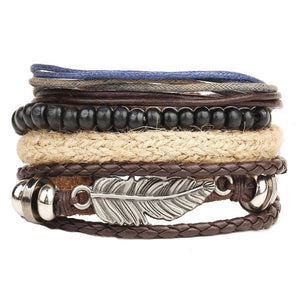 Phoenix Multilayer Feather Leather Bracelet Set