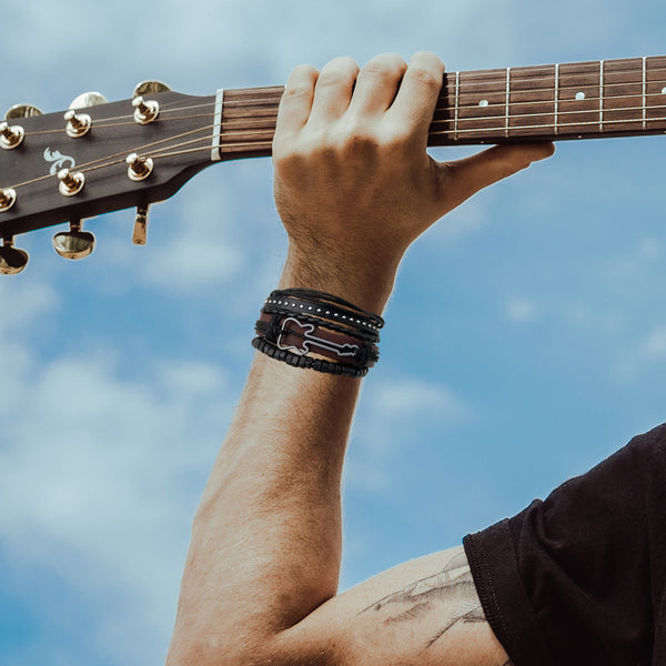 Brown Guitar Multilayer Leather Bracelet Set