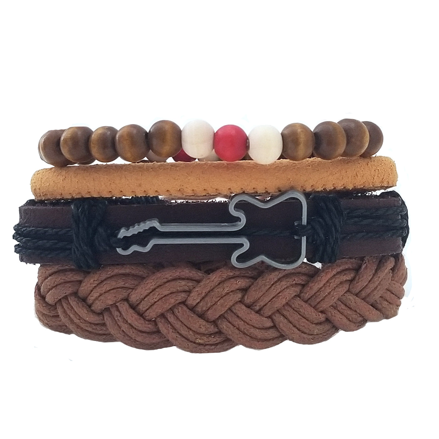 Guitar Leather Bracelet Set - Brown