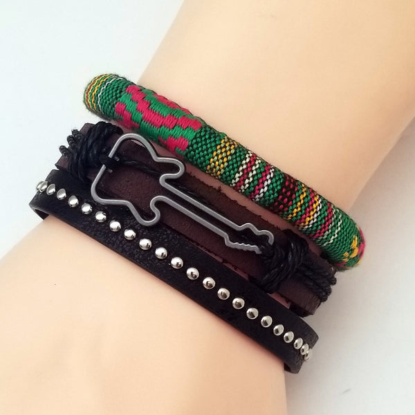 Green Guitar Multilayer Leather Bracelet Set - Silverado Outpost