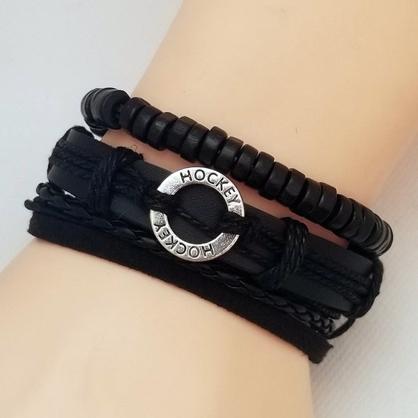 Hockey Multilayer Bracelet Set - Black - Silverado Outpost