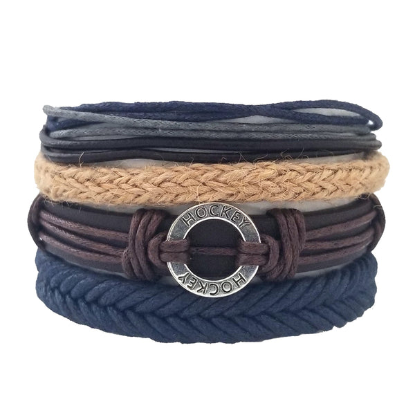 Hockey Blue Multilayer Bracelet Set - Silverado Outpost
