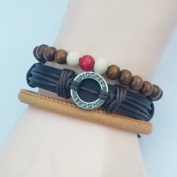 Hockey Brown Multilayer Bracelet Set - Silverado Outpost