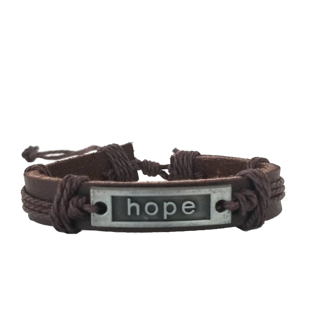Hope Leather Bracelet - Brown