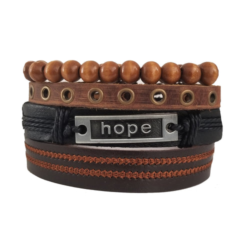 Hope Bracelet Set - Black/Brown