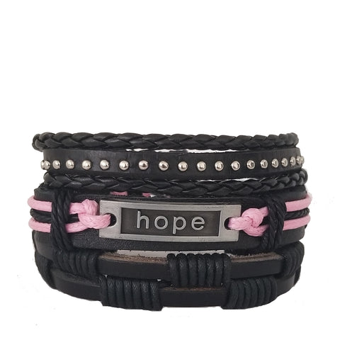 Pink Breast Cancer Awareness Bracelet Set