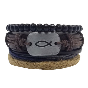 Ichthys Leather Bracelet Set