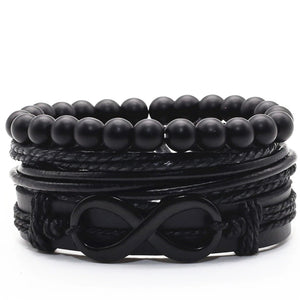 Infinity Black Leather Bracelet Set