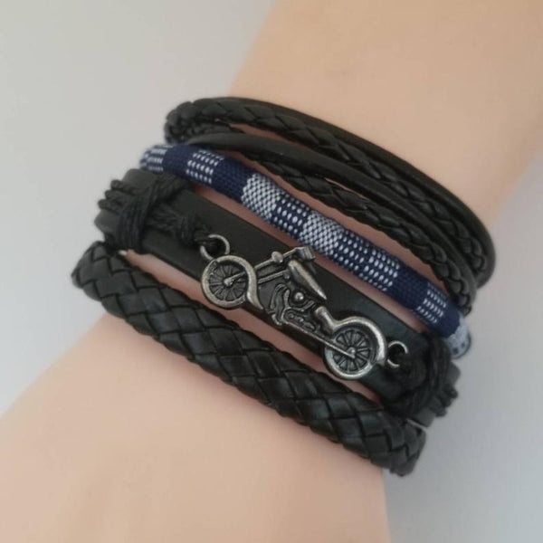 Motorcycle Bracelet Set - Blue/White