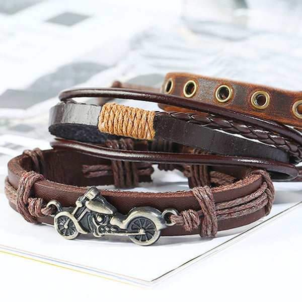 Motorcycle Bracelet Set - Brown