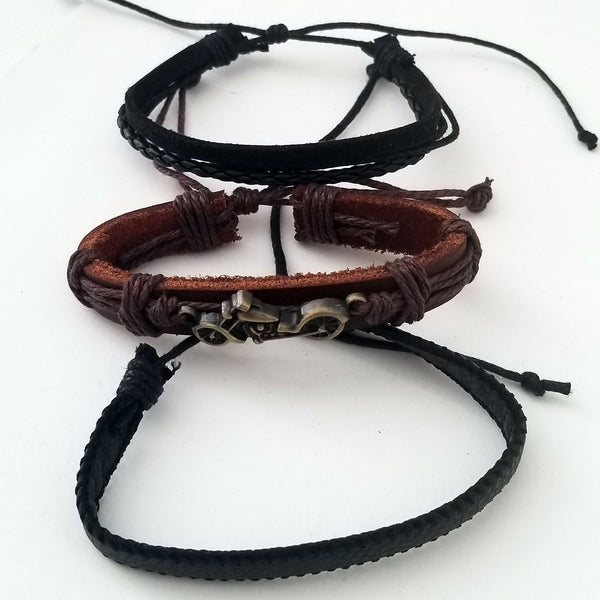 Motorcycle Leather Bracelet Set - Silverado Outpost