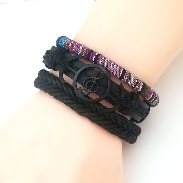 Treble Clef Musical Note Leather Bracelet Set - Silverado Outpost