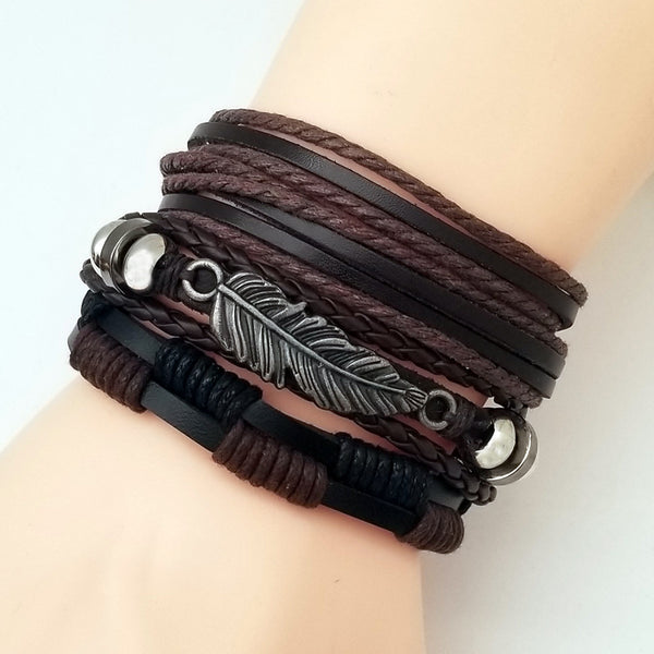 Nature Feather Leather Bracelet Set - Silverado Outpost