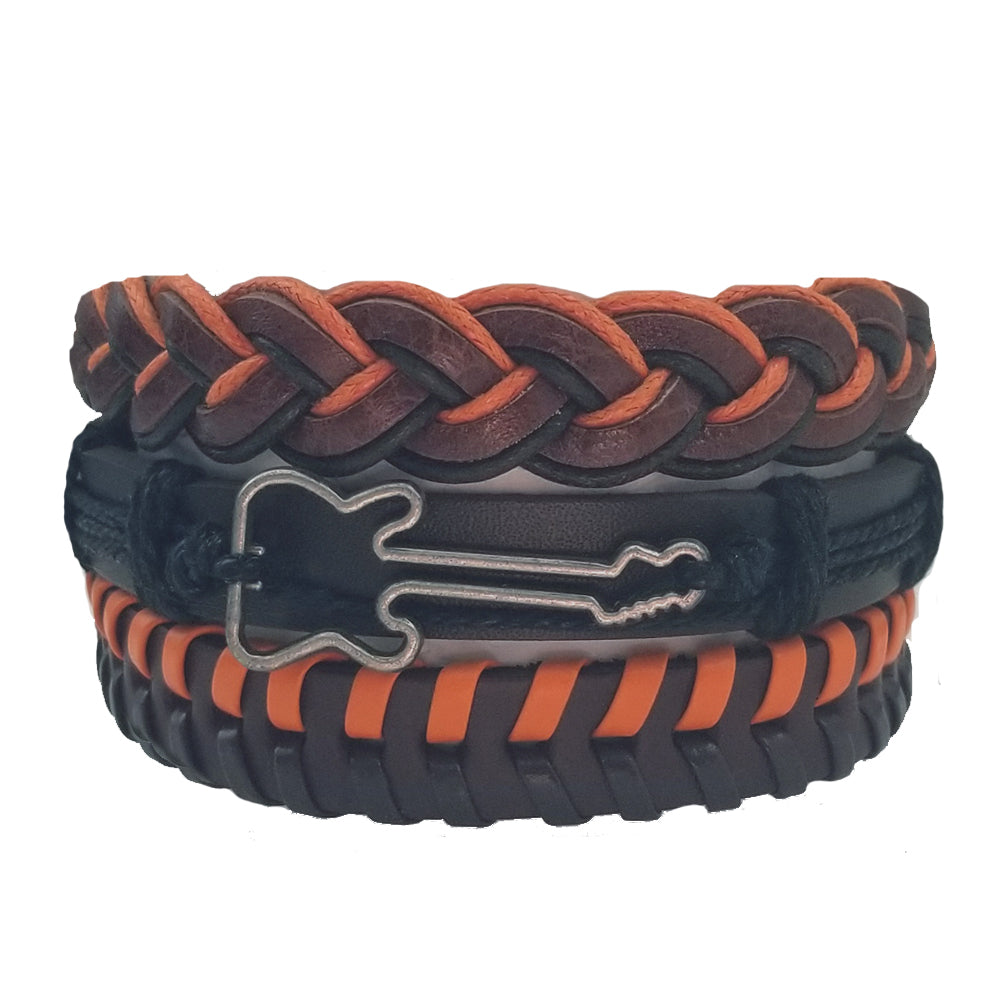 Orange Brown Guitar Leather Bracelet Set - Silverado Outpost