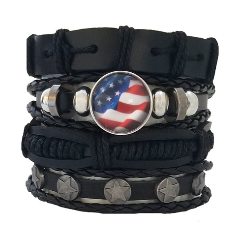 Patriotic USA Leather Bracelet Set - Silverado Outpost