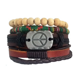 Peace Leather Bracelet Set - Green