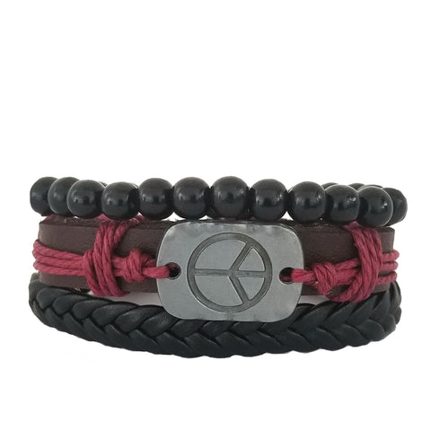 Peace Leather Bracelet Set - Black