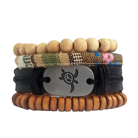 Turtle Peace Bracelet Set - Earth Tone