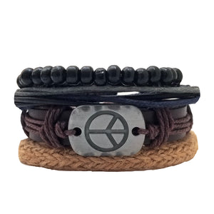 Peace Leather Bracelet Set - Silverado Outpost