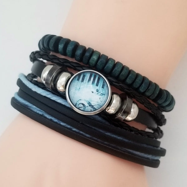 Aqua Piano Leather Bracelet Set - Silverado Outpost