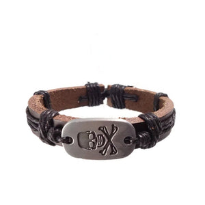 Pirate Skull Leather Bracelet - Black/Brown