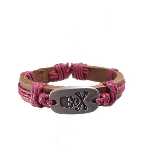 Pirate Skull Leather Bracelet - Red