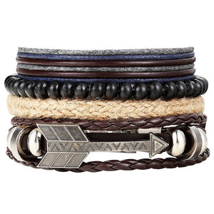 Arrow Leather Multilayer Bracelet Set - Silverado Outpost