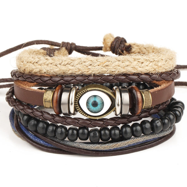 Evil Eye Multilayer Leather Bracelet Set - Silverado Outpost