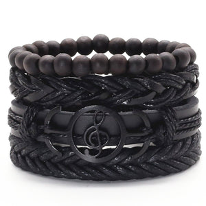 Musical G Clef Multilayer Leather Bracelet Set