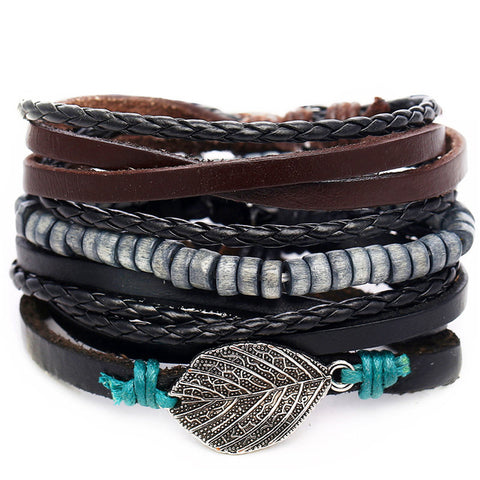 Leaf Multi-Layered Bracelet Set - Silverado Outpost
