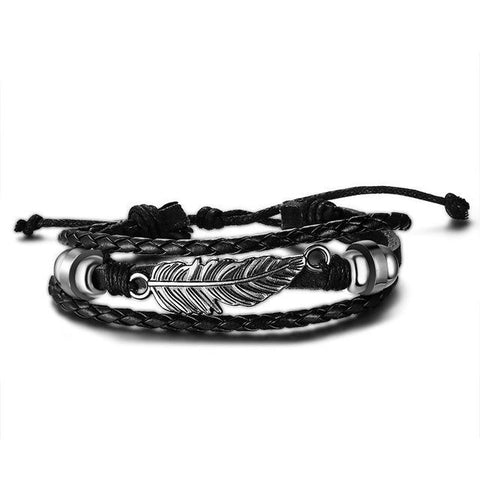 Feather Leather Bracelet - Black