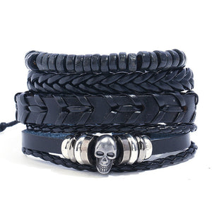 Skull biker punk leather bracelet set