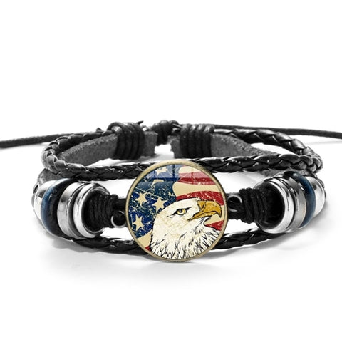 USA American Eagle Leather Bracelet - Silverado Outpost