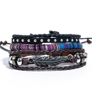 Native American inspired leather bracelet set. Multilayer feather bracelet