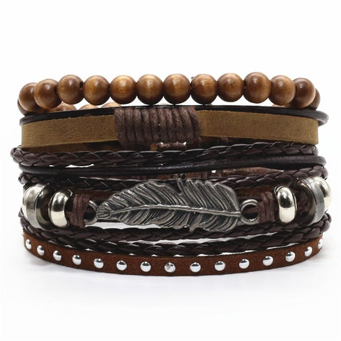 Arizona Feather Leather Bracelet Set