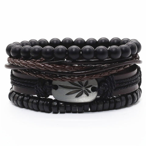 Marley Leaf Leather Bracelet Set