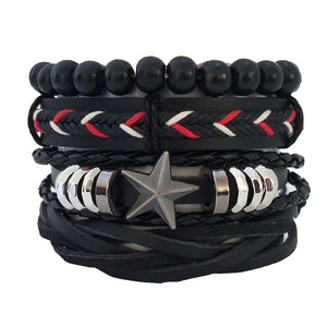Red Stars Leather Bracelet Set - Silverado Outpost