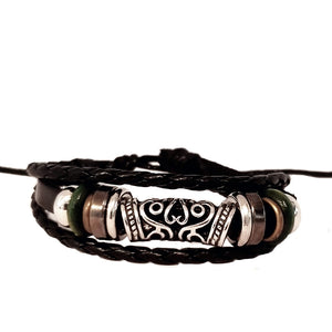 Rustic Silver/Green Leather Bracelet