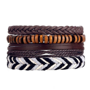 Safari Multilayer Leather Bracelet Set - Silverado Outpost